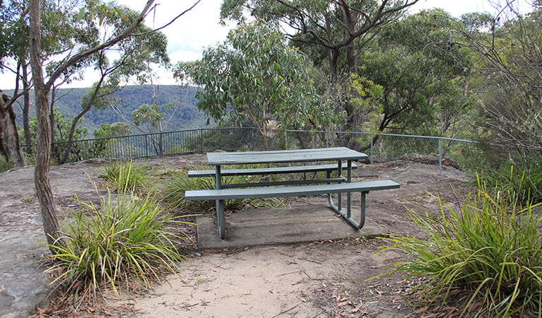 Picnic table at Grand Canyon lookout, set in bushland with valley view.  Photo: John Yurasek/OEH.