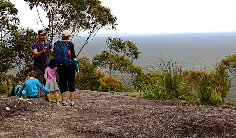 People enjoying the lookout, Pigeon House Didthul walking track. Photo: John Yurasek Copyright:NSW Government