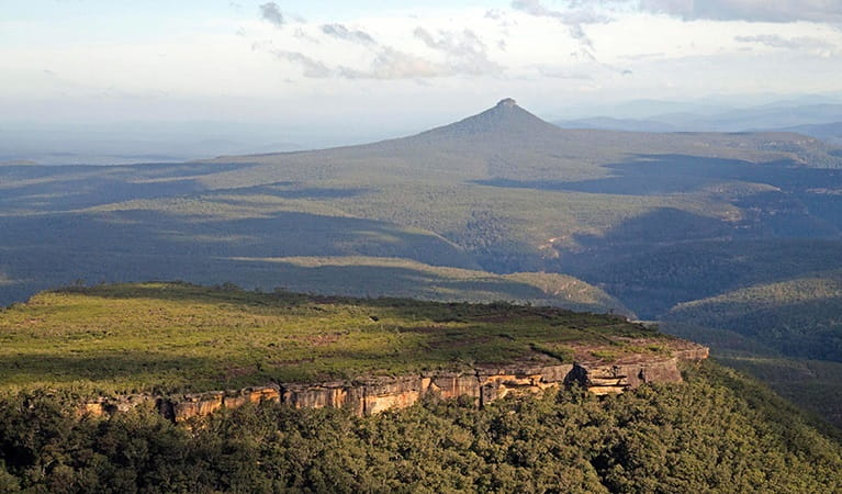 The distinctive peak of Pigeon House mountain, Morton National Park. Photo: Michael Jarman/OEH