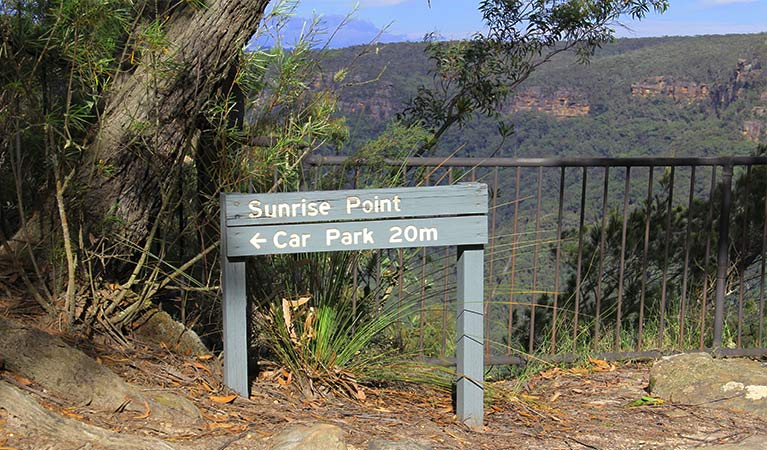 Park sign for Sunrise Point and its car park, with metal fencing and canyon vista in the background. Photo: John Yurasek/DPIE