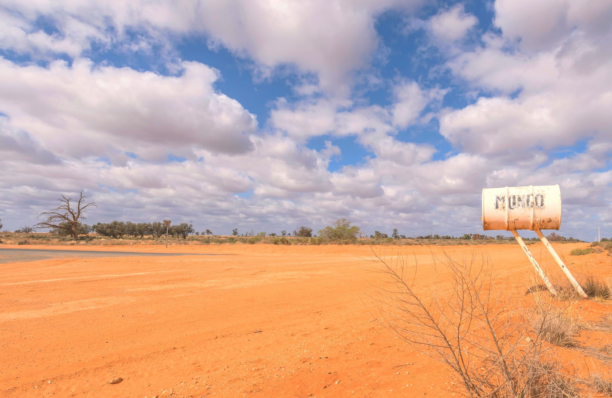 Mailbox beside a dirt road near Mungo National Park. Photo: Ken Stepnell