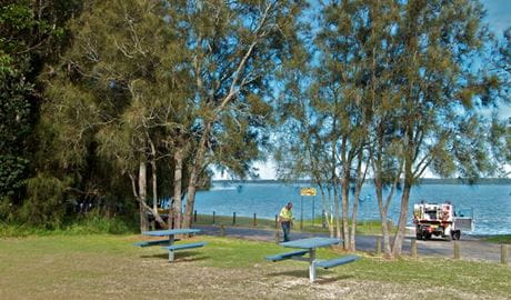People in Elizabeth Bay picnic area. Photo: John Spencer