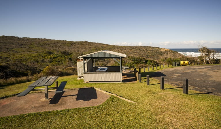 Barbecue area and picnic tables at Frazer campground, Munmorah State Conservation Area. Photo: John Spencer/OEH
