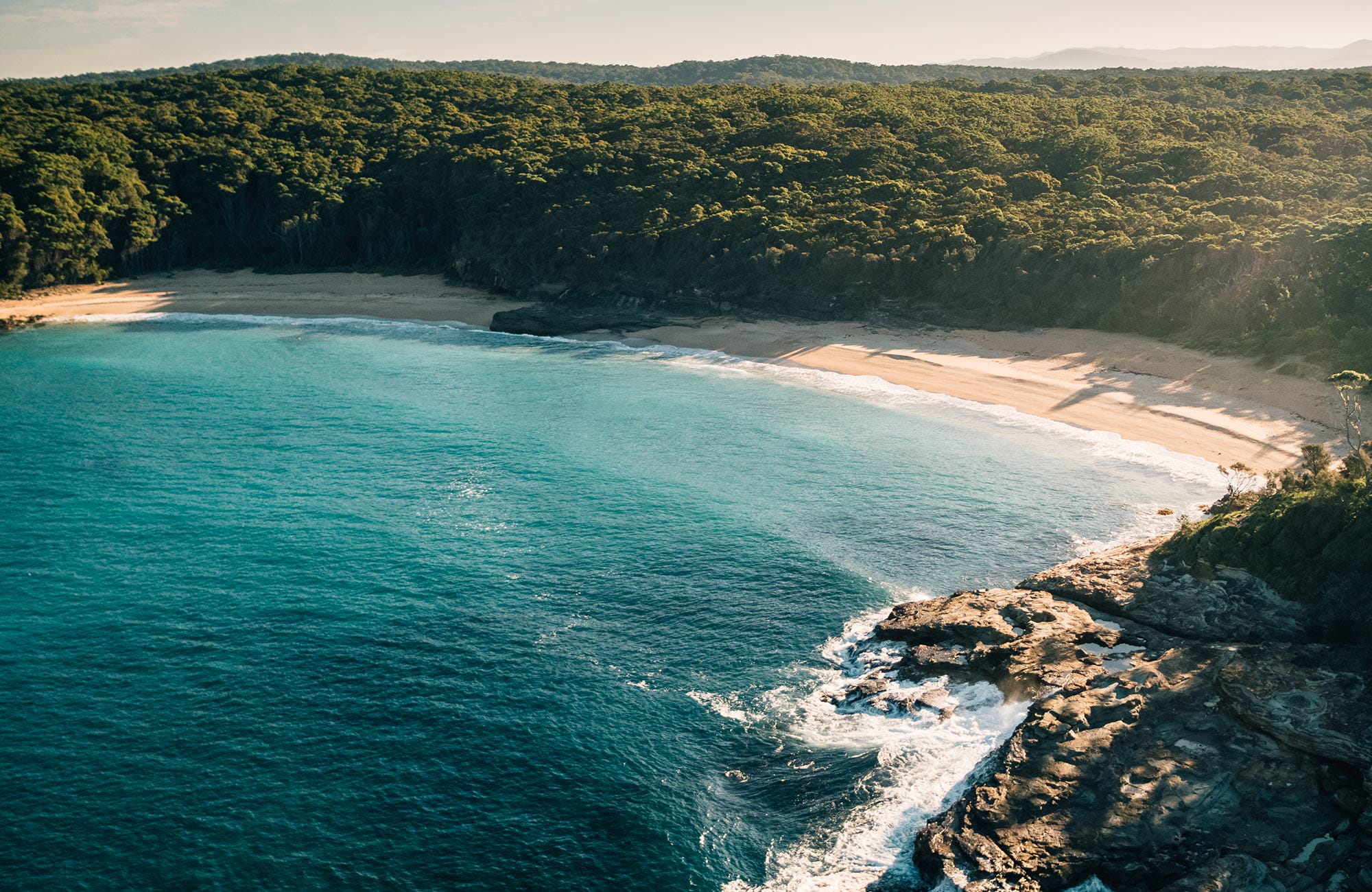 Aerial view of Emily Miller Beach, near Wasp Head, Murramarang National Park. Photo: Melissa Findley/OEH.