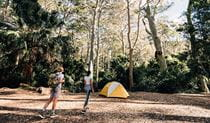 A couple walk to their tent at Depot Beach campground, Murramarang National Park. Photo: Melissa Findley/OEH.