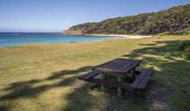 Depot Beach picnic table, Murramarang National Park. Photo: John Yurasek