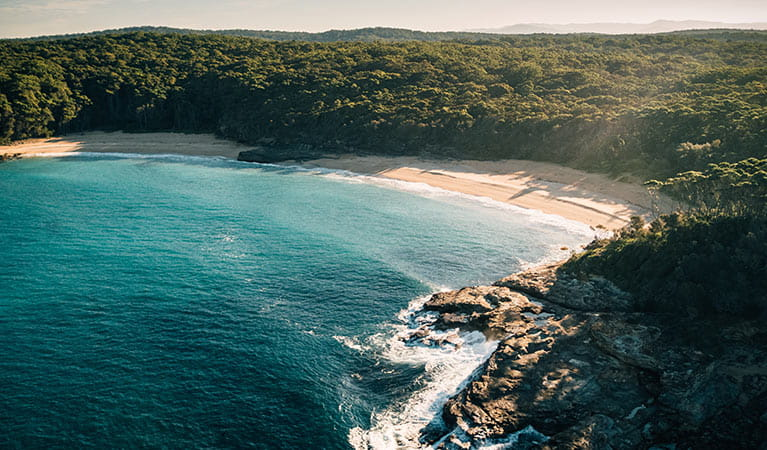 Aerial view of Emily Miller Beach, Murramarang National Park. Photo: Melissa Findley/OEH.