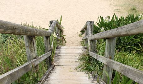 Stairs leading down to Pebbly Beach. Photo: John Yurasek