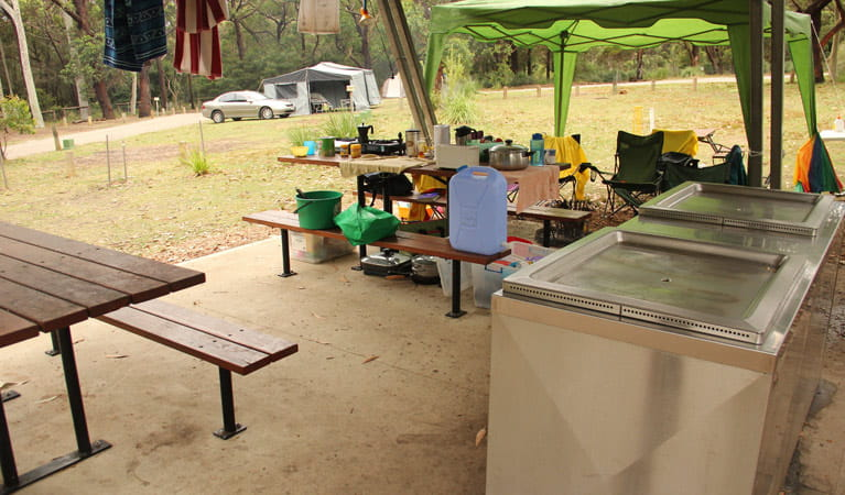 Barbecue area, Pretty Beach campground. Photo: John Yurasek