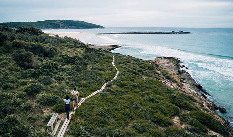 Aerial view of couple walking towards Pretty Beach and Snapper Point, Murramarang National Park. Photo: Melissa Findley/OEH.