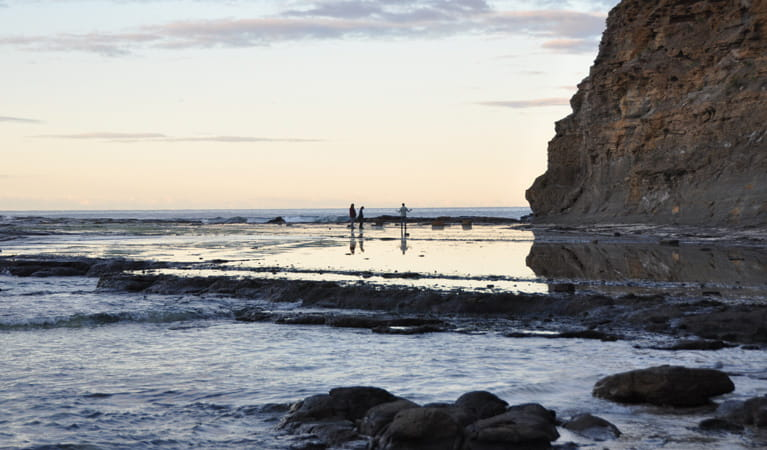 People on the Rock Platform walk, Depot Beach. Photo: Beth Boughton