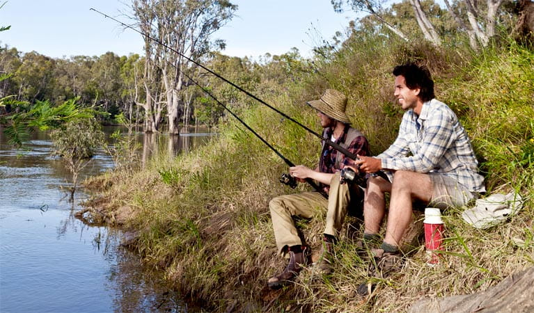 Two men fishing in Murray Valley National Park. Photo: David Finnegan