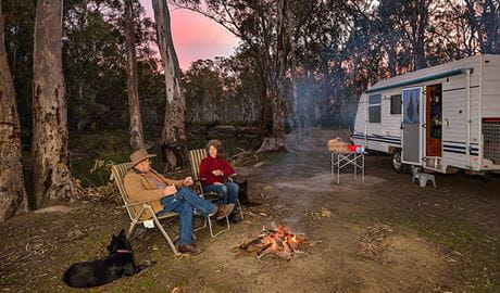 Edward River Bridge campground, Murray Valley National Park. Photo: Gavin Hansford/NSW Government