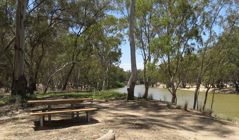 A timber picnic table beside the Edward River along Kolety walking tracks, Murray Valley Regional Park. Photo: Amanda Hipwell © DPIE