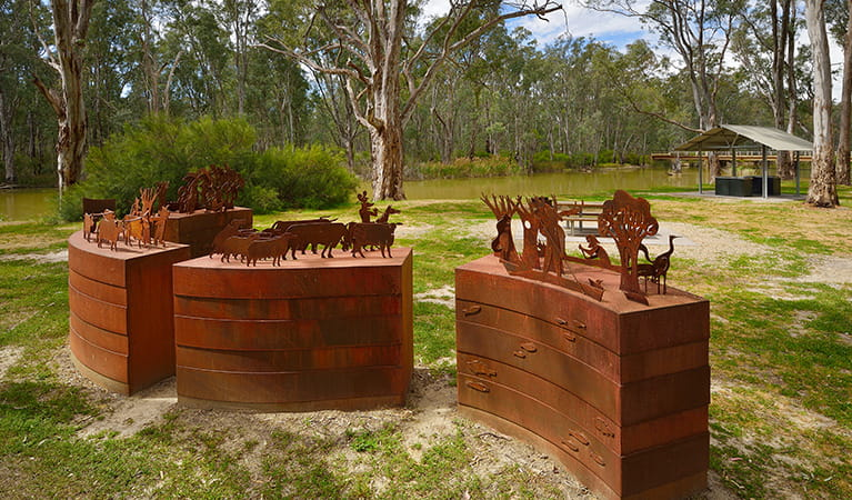 View of Geoff Hocking's 4 historical steel sculptures, with Edward River in the background. Photo: Gavin Hansford/DPIE