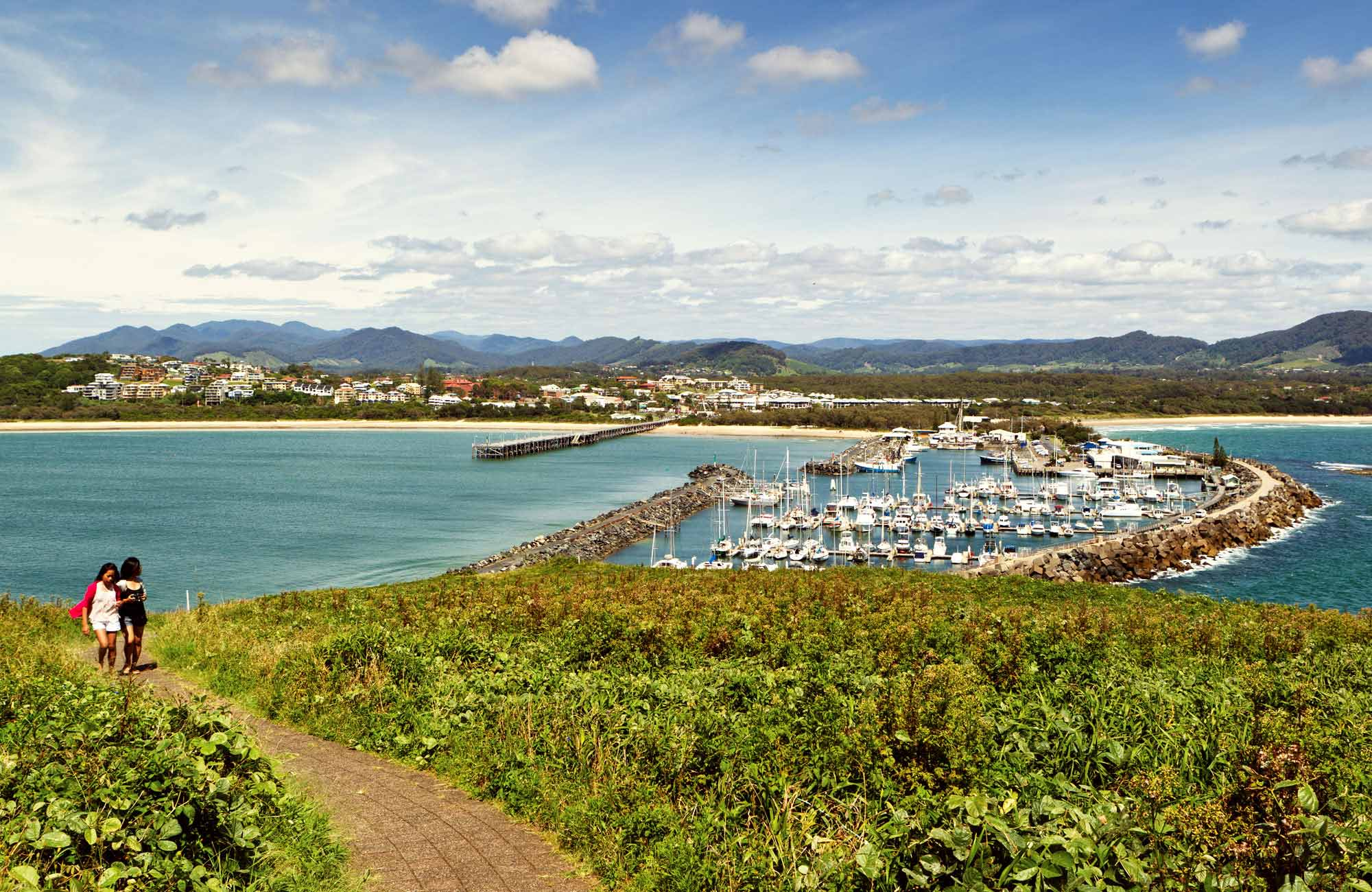 View of the marina, Muttonbird Island Nature Reserve. Photo: Rob Cleary