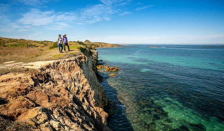 2 visitors look out to the ocean from a cliff top, with coastal heathland in the background. John Spencer © DPIE