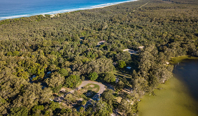 Aerial view of Mungo Brush campground, Myall Lakes National Park. Photo: John Spencer/DPIE