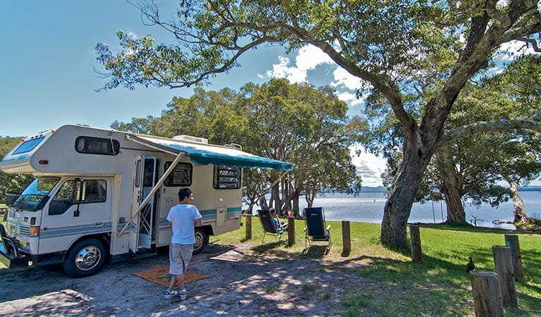 A campervan at Mungo Brush campground, Myall Lakes National Park. Photo: John Spencer/NSW Government