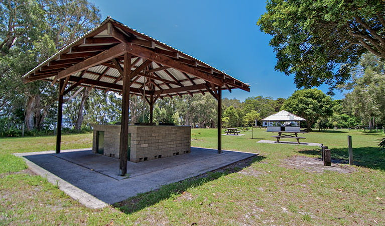 Barbecue facilities at Mungo Brush campground, Myall Lakes National Park. Photo: John Spencer/NSW Government