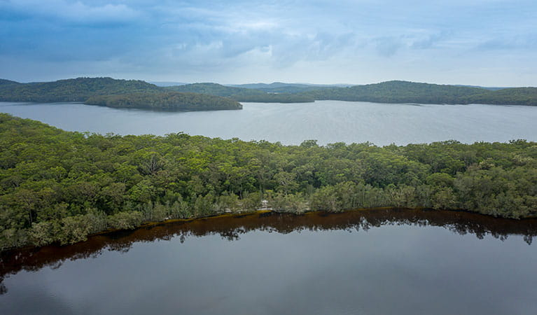 Aerial view of Freshwater campground on Two Mile Lake with Boolambayte Lake in the background. Photo: John Spencer © DPIE