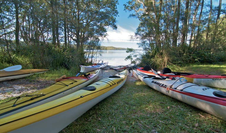 Neranie campground canoes, Myall Lakes National Park. Photo: John Spencer/DPIE