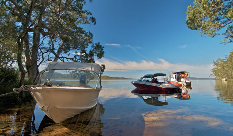 Neranie campground boats, Myall Lakes National Park. Photo: John Spencer/DPIE