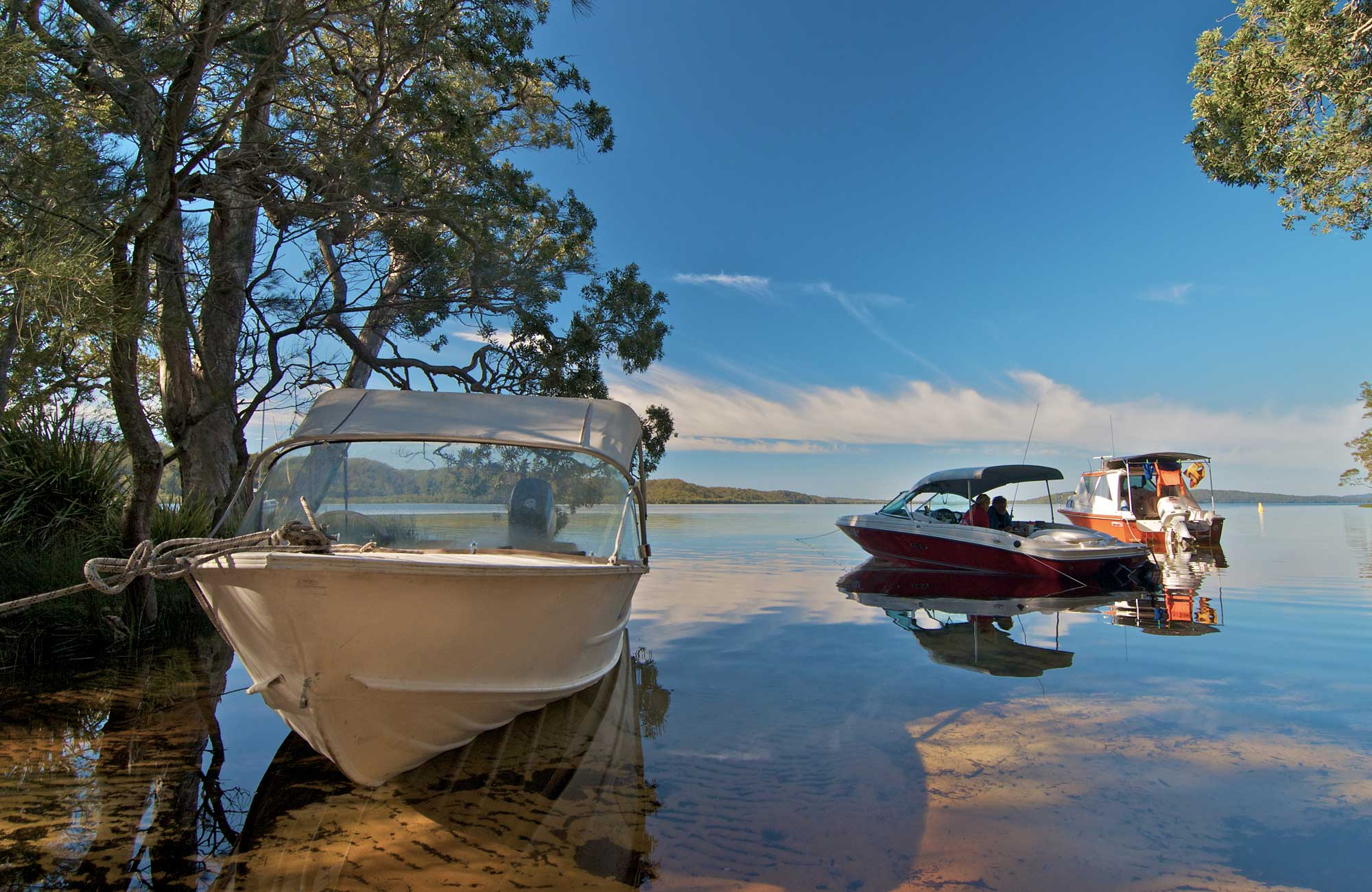 Neranie campground boats hero, Myall Lakes National Park. Photo: John Spencer/DPIE