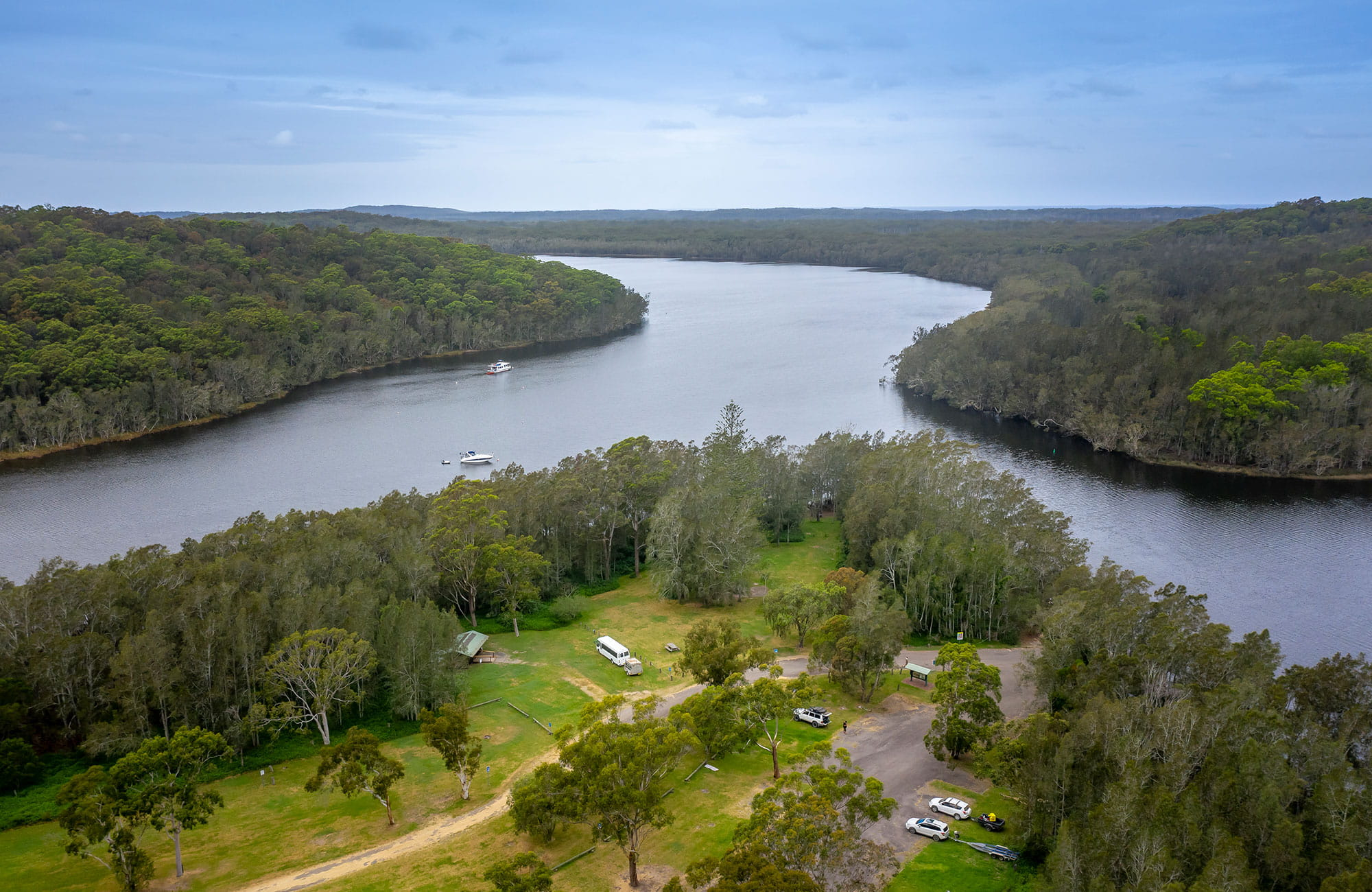 Aerial view of Violet Hill campground and picnic area and surrounding waterways in Myall Lakes National Park. Photo: John Spencer © DPIE