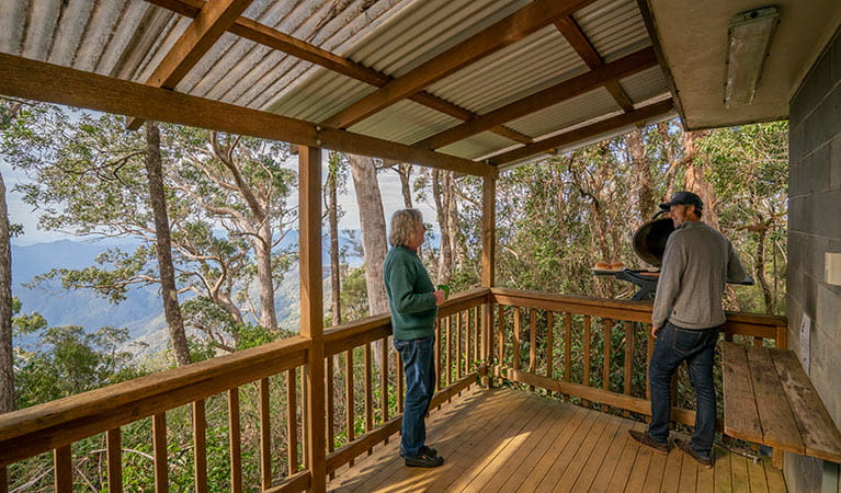 Aerial view of The Chalet positioned within the tall forrest of New England National Park. Photo: John Spencer/OEH