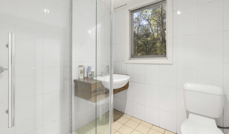 Father and son heading off for a walk from Toms Cabin in New England National Park. Photo: John Spencer/OEH