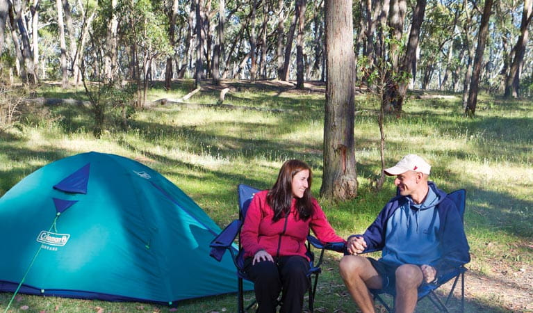 Two people in the Apsley Falls campground. Photo: Rob Cleary