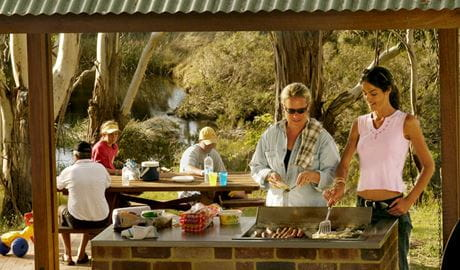 People cooking on the Barbecues, Apsley Gorge picnic area. Photo: Paul Mathews