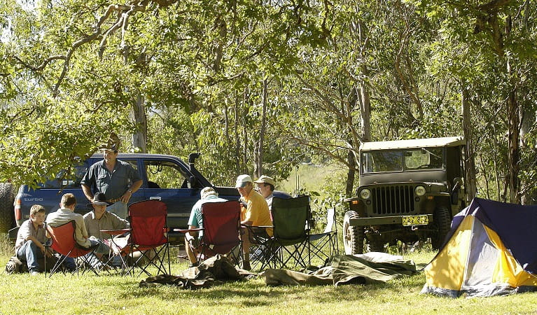 Campers at Youdales Hut campground and picnic area. Photo: Paul Mathews