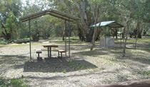 Picnic tables at the Coach and Horses campground. Photo: Steve Thompson