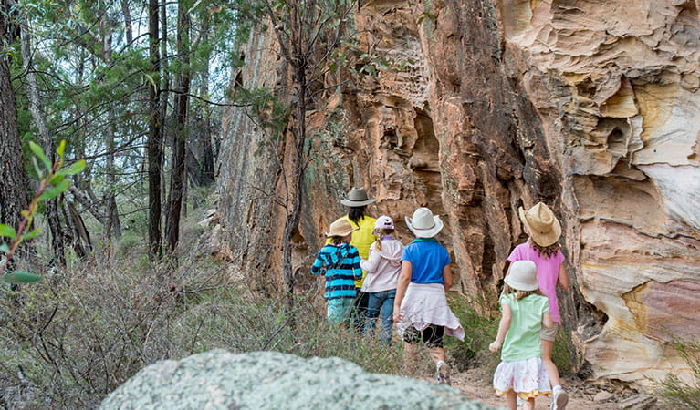 A group of people following a ranger on a tour of Pilliga National Park. Photo: John Spencer © DPIE