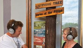 People in the Discovery Centre, Pilliga National Park. Photo: Rob Cleary
