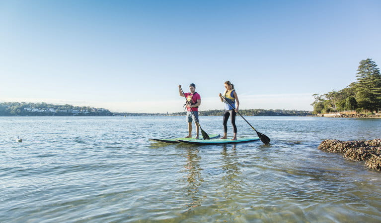 Two people stand-up paddle boarding in Cabbage Tree Basin, next to Bonnie Vale picnic area in Royal National Park. Photo: Simone Cottrell/OEH