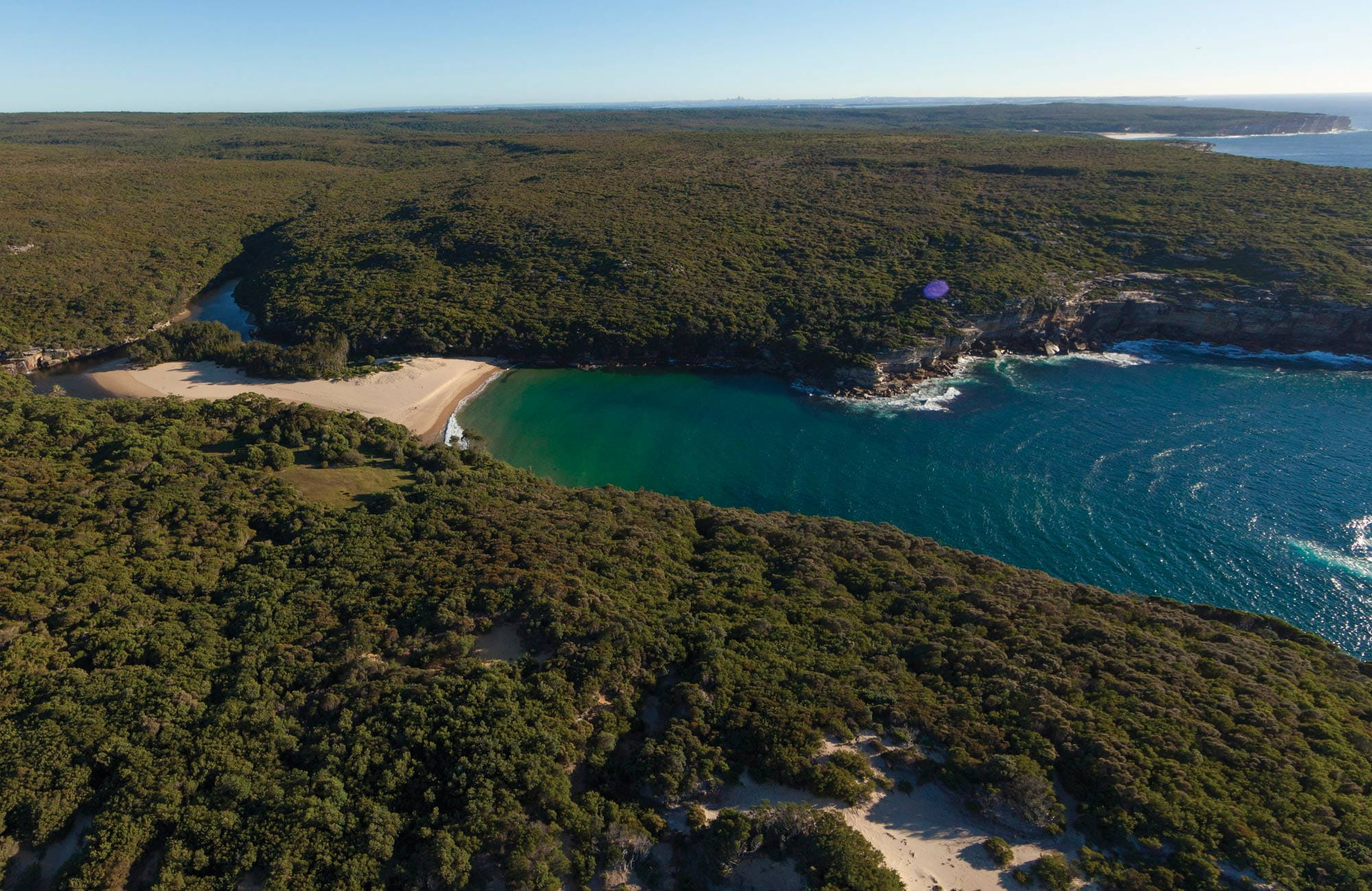 Aerial view of Wattamolla Beach lagoon and picnic area, Royal National Park. Photo: David Finnegan/OEH