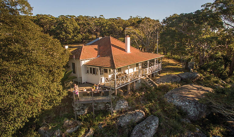 Aerial view of Hilltop Cottage and surrounding bushland in Royal National Park. Photo: John Spencer © DPIE