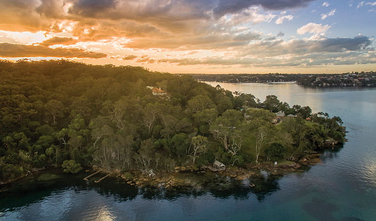 Aerial view of Hilltop Cottage and Port Hacking in Royal National Park. Photo: John Spencer © DPIE