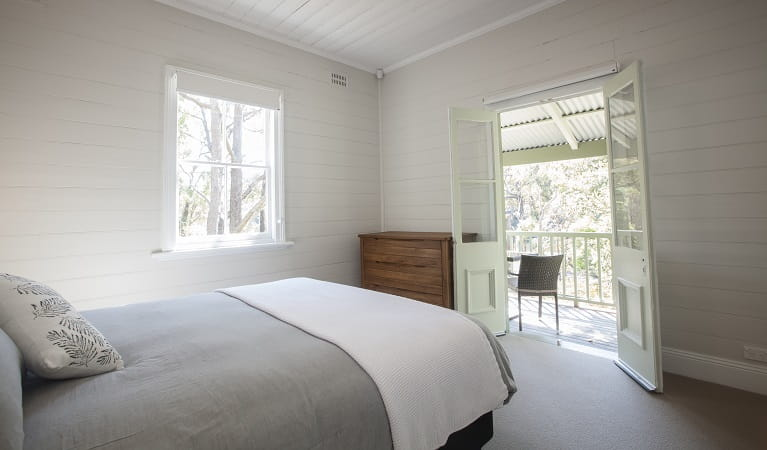A queen bedroom in Reids Flat Cottage, Royal National Park. Photo: Rosie Nicolai/OEH