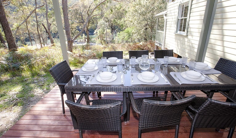 Dining deck at Reids Flat Cottage. Photo: Rosie Nicolai OEH