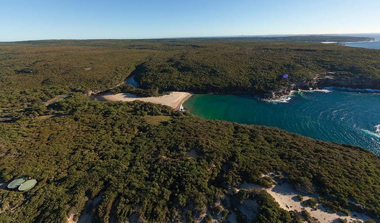 Aerial view of Wattamolla picnic area and lagoon, Royal National Park. Photo: David Finnegan/OEH