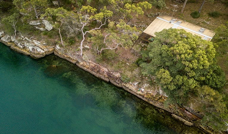Aerial view of Weemalah Cottage, on Port Hacking riverside, Royal National Park. Photo: John Spencer/OEH