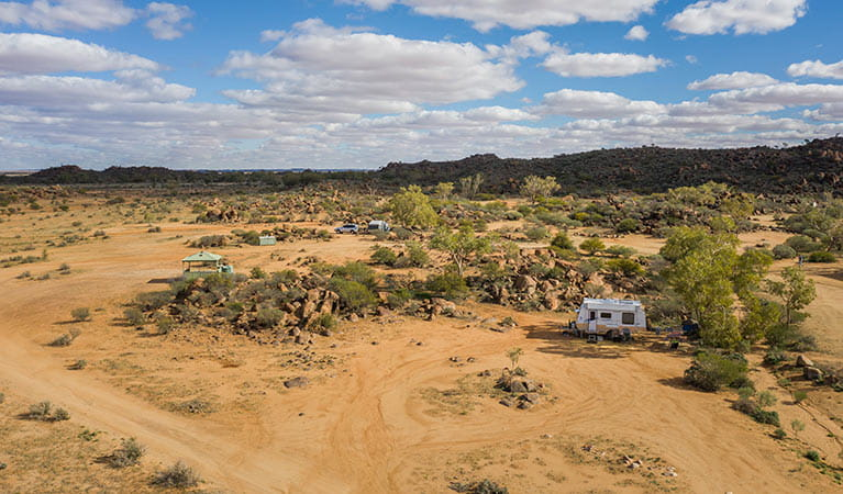 Aerial view of campers at Dead Horse Gully campground. Photo: John Spencer/DPIE