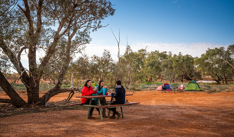 Friends eating breakfast at a picnic table at Mount Wood campground. Photo: John Spencer/DPIE