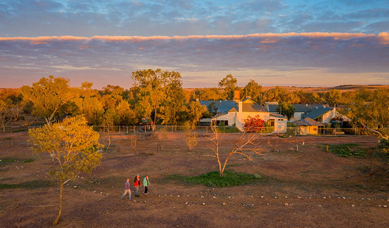 People walking in front of Mount Wood Homestead at sunrise. Photo: John Spencer/DPIE