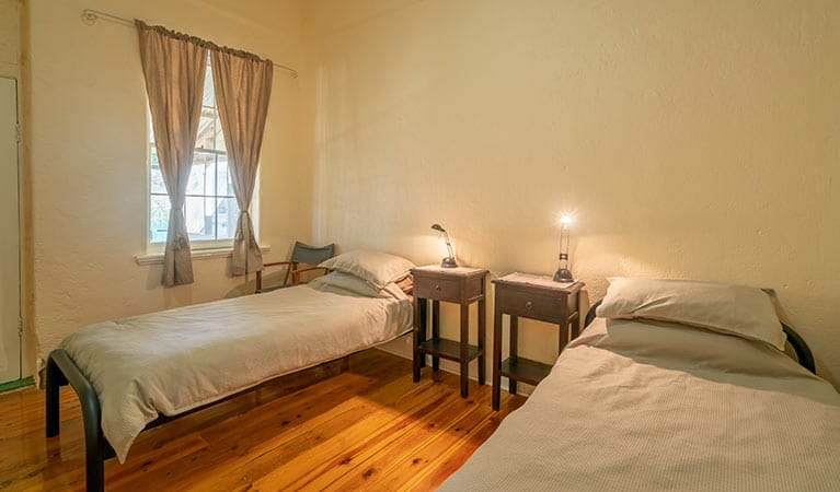 Bedroom with 2 single beds at Mount Wood Homestead. Photo: John Spencer/DPIE