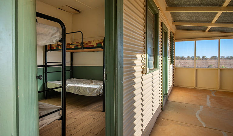 Bunk bedroom at Mount Wood Shearers Quarters. Photo: John Spencer/DPIE